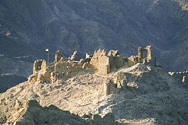 High angle view of a ruined fort on a mountain, Crusader Fort, Israel