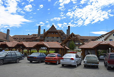 Cars parked in front of a building, San Carlos De Bariloche, Argentina