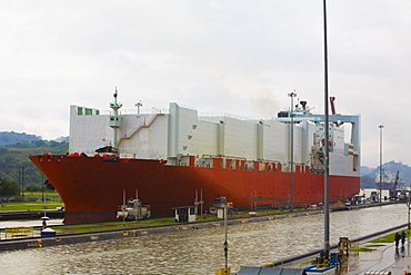 Container ship at a commercial dock, Panama Canal, Panama
