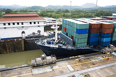 Cargo containers in a container ship at a commercial dock, Miraflores Locks, Panama Canal, Panama