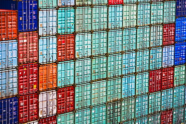 Cargo containers stacked at a commercial dock, Panama Canal, Panama