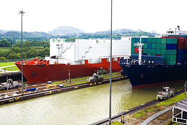 Container ships at a commercial dock, Panama Canal, Panama
