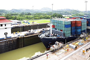 Cargo containers in a container ship at a commercial dock, Panama Canal, Panama