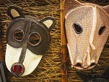Close-up of two masks, Old Panama, Panama City, Panama