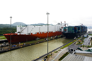 Container ship and cargo containers at a commercial dock, Panama Canal, Panama