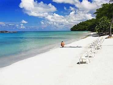 Lounge chairs on the beach, South West Bay, Providencia, Providencia y Santa Catalina, San Andres y Providencia Department, Colombia
