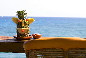 Decorated pineapple on a plate, Cancun, Mexico