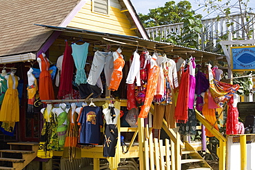 Clothes hanging at a market stall, West End, Roatan, Bay Islands, Honduras