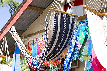 Hammocks hanging at a market stall, Coxen Hole, Roatan, Bay Islands, Honduras