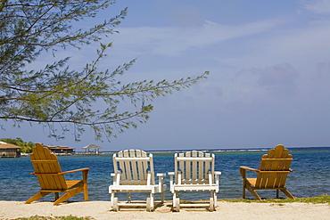 Four deck chairs on the beach, Dixon Cove, Roatan, Bay Islands, Honduras