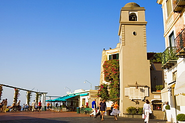 Low angle view of a bell tower, Piazza Umberto, Capri, Campania, Italy