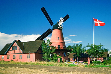 Restaurant near a windmill, Funen County, Denmark