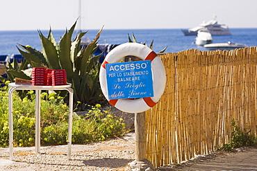 Information board fixed with a life belt, Capri, Campania, Italy