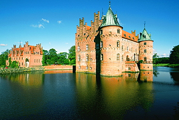 Reflection of a castle in water, Egeskov Castle, Funen County, Denmark