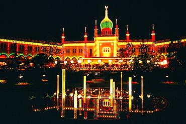 Facade of a mosque lit up at night, Tivoli Gardens, Copenhagen, Denmark