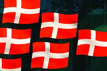 Close-up of Danish flags, Denmark