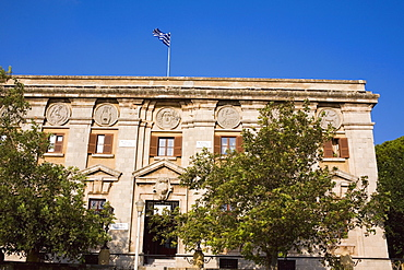 Low angle view of a government building, Rhodes, Dodecanese Islands, Greece