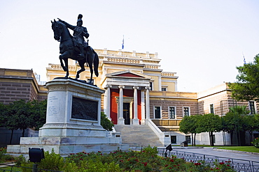 Statue of Theodoros Kolokotronis in front of a museum, National History Museum, Athens, Greece