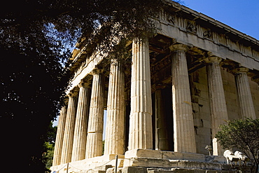 Low angle view of the old ruins of a temple, Parthenon, Acropolis, Athens, Greece