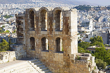 High angle view of the old ruins of an amphitheater, Theater Of Herodes Atticus, Acropolis, Athens, Greece