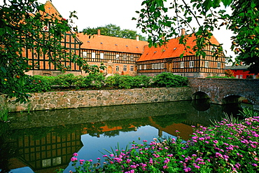 Pond in front of a building, Funen County, Denmark