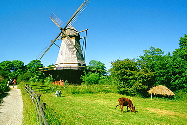 Low angle view of a windmill on a landscape, Copenhagen, Denmark