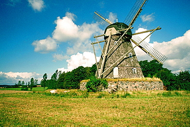 Low angle view of a windmill, Funen County, Denmark