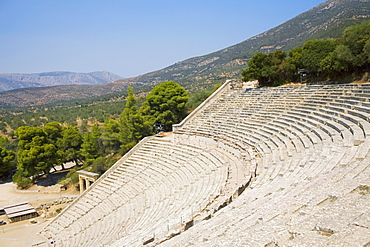 High angle view of an amphitheater, odeon of herodes atticus, Acropolis, Athens, Greece