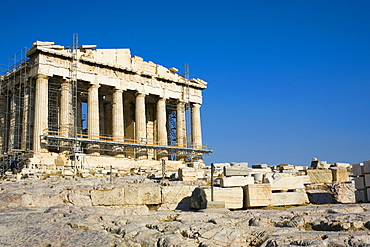 Old ruins of a temple, Parthenon, Acropolis, Athens, Greece