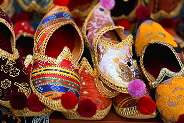 Close-up of ornate traditional shoes, Istanbul, Turkey
