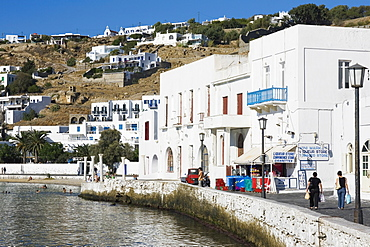 Buildings at the waterfront, Mykonos, Cyclades Islands, Greece