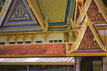 Facade of a palace, Royal Palace, Phnom Penh, Cambodia
