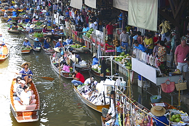 High angle view of a market, Floating Market, Thailand