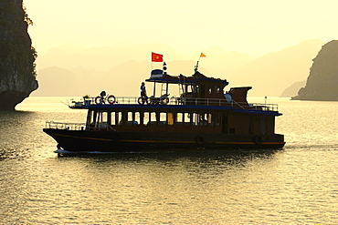 Tourboat in the sea, Halong Bay, Vietnam