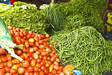 High angle view of vegetables at a market stall, Ica, Ica Region, Peru