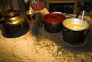 Close-up of saucepans, San Juan De Chuccho, Colca Canyon, Arequipa, Peru