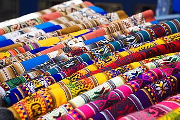 Close-up of clothes displayed at a market stall, Sicuani, Cusco Region, Peru