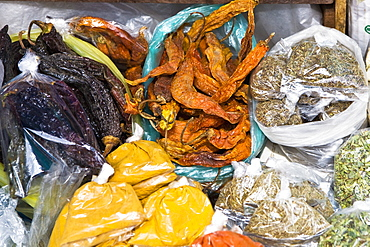 High angle view of assorted spices at a spice stall, Pisaq, Cuzco, Peru