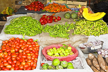 High angle view of assorted vegetables at a market stall, Ica, Ica Region, Peru