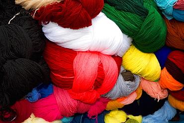 Close-up of bundles of wool, Pisaq, Cuzco, Peru