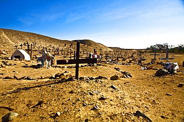 Graves in a cemetery, Cahuachi, Nazca, Ica Region, Peru