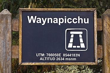 Close-up of a signboard, Aguas Calientes, Mt Huayna Picchu, Machu Picchu, Cusco Region, Peru