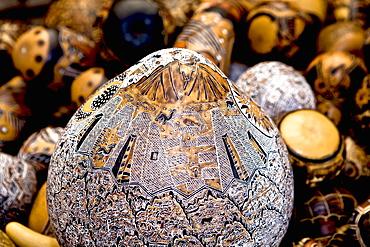 Close-up of handicraft items in a market stall, Pisaq, Cuzco, Peru