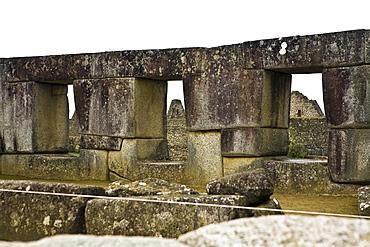 Stone wall of a temple, Temple of The Sun, Machu Picchu, Urubamba Valley, Cuzco, Peru