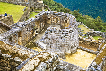 High angle view of the ruins of a temple, Temple of The Sun, Machu Picchu, Urubamba Valley, Cuzco, Peru