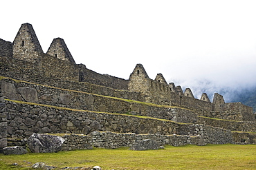 Low angle view of ruins on mountains, Machu Picchu, Cusco Region, Peru