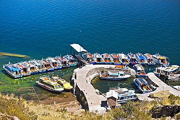 High angle view of boats moored at a dock, Lake Titicaca, Taquile Island, Puno, Peru