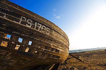 Close-up of an abandoned boat on the beach, Town Of El Chaco, Peru