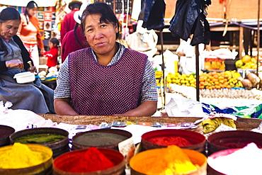 Portrait of a mature woman standing at a market stall, Peru