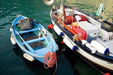 High angle view of boats in the sea, Italian Riviera, Mar Ligure, Genoa, Liguria, Italy